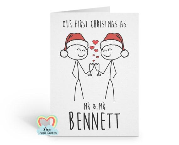gay first christmas card, mr and mr christmas card, our first christmas together, gay christmas card