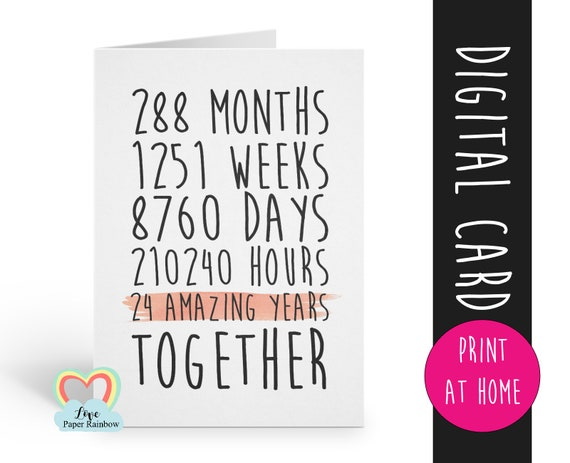PRINTABLE 24th anniversary card, 24 amazing years, mr and mrs card, 24th wedding anniversary card, gay anniversary, 24 years in months