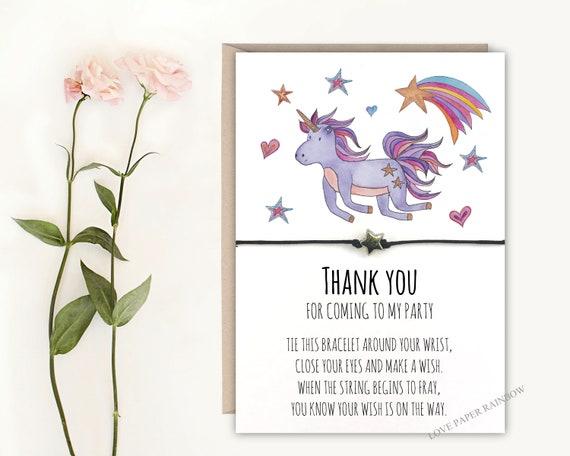 unicorn wish bracelet, thank you for coming to my party, unicorn birthday party, unicorn party bag filler, unicorn gift, unicorn favour