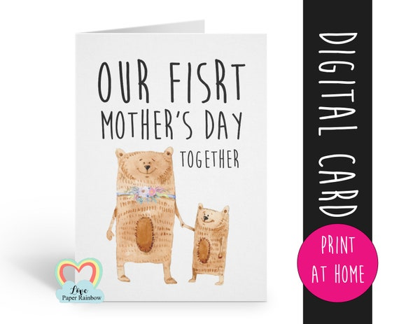 1st mother's day card printable mother's day card our first mother's day together digital download cute mother's day card new mum