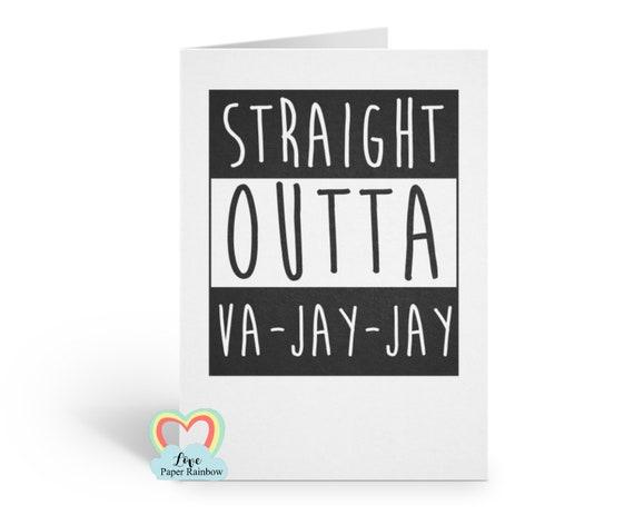 funny new baby card, funny birthday card, VAJAYJAY, va-jay-jay card, rude new baby card, vagina card, maternity card, love paper rainbow