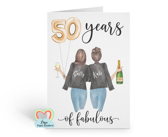 best friend 50th birthday card personalised sister 50th birthday card mum 50th birthday card 50 years of fabulous