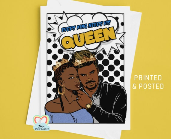 black couple anniversary card african afro carribean man and woman every king needs his queen BLM brown skin black lives matter jamaican