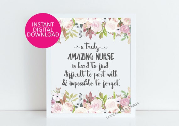 Nurse Gift, An amazing nurse is hard to find, Office Decor, Printable Nurse Gift, retirement Custom Quote Print, Gift for Nurse, Amazing