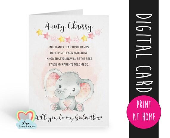 godmother card printable | elephant godmother card | godmother proposal | digital download | custom godmother card | godmother poem