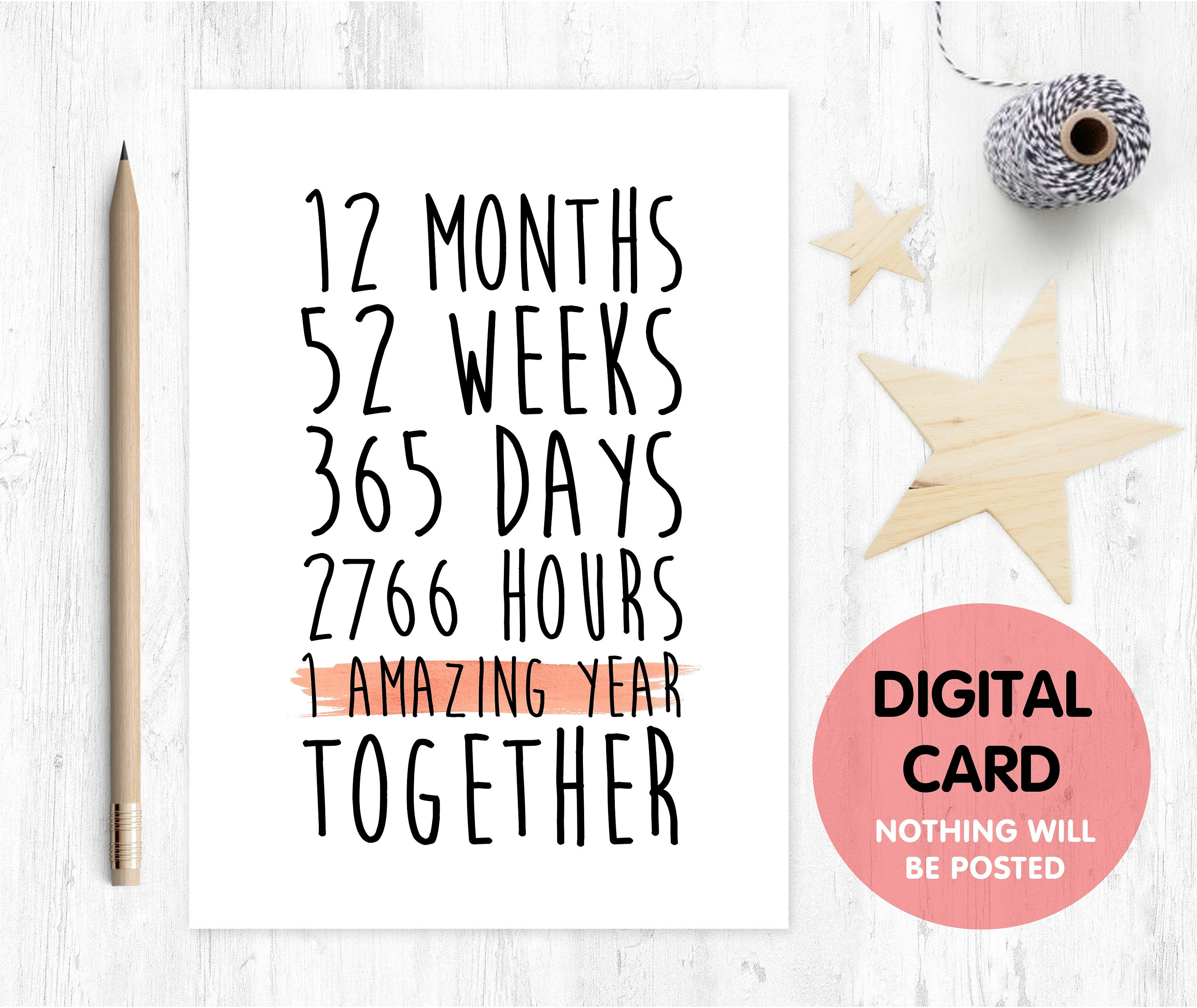 PRINTABLE 1st Anniversary Card 1 Amazing Year First Year