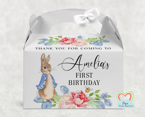 peter rabbit treat box, 1st birthday favour box, rabbit party box, personalised treat box, Activity box, Baby shower gift favour gift
