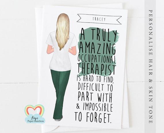 personalised occupational therapist retirement card, OT leaving card, occupational therapist card, OT graduation card, thank you OT