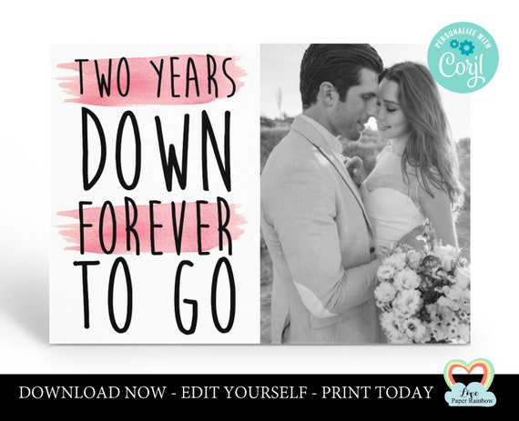 personalized 2nd anniversary card template 2nd anniversary printable card 2 years down forever to go instant download 2nd anniversary gift