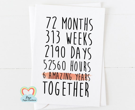 6th anniversary card, 6th wedding anniversary card, 6 years together, 6 amazing years, gay anniversary card, lesbian anniversary card