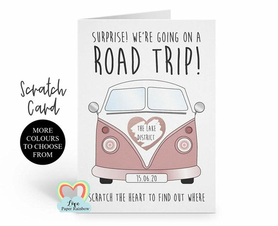 road trip | surprise road trip | scratch and reveal road trip card | camping holiday | camper van card | we're going on a road trip