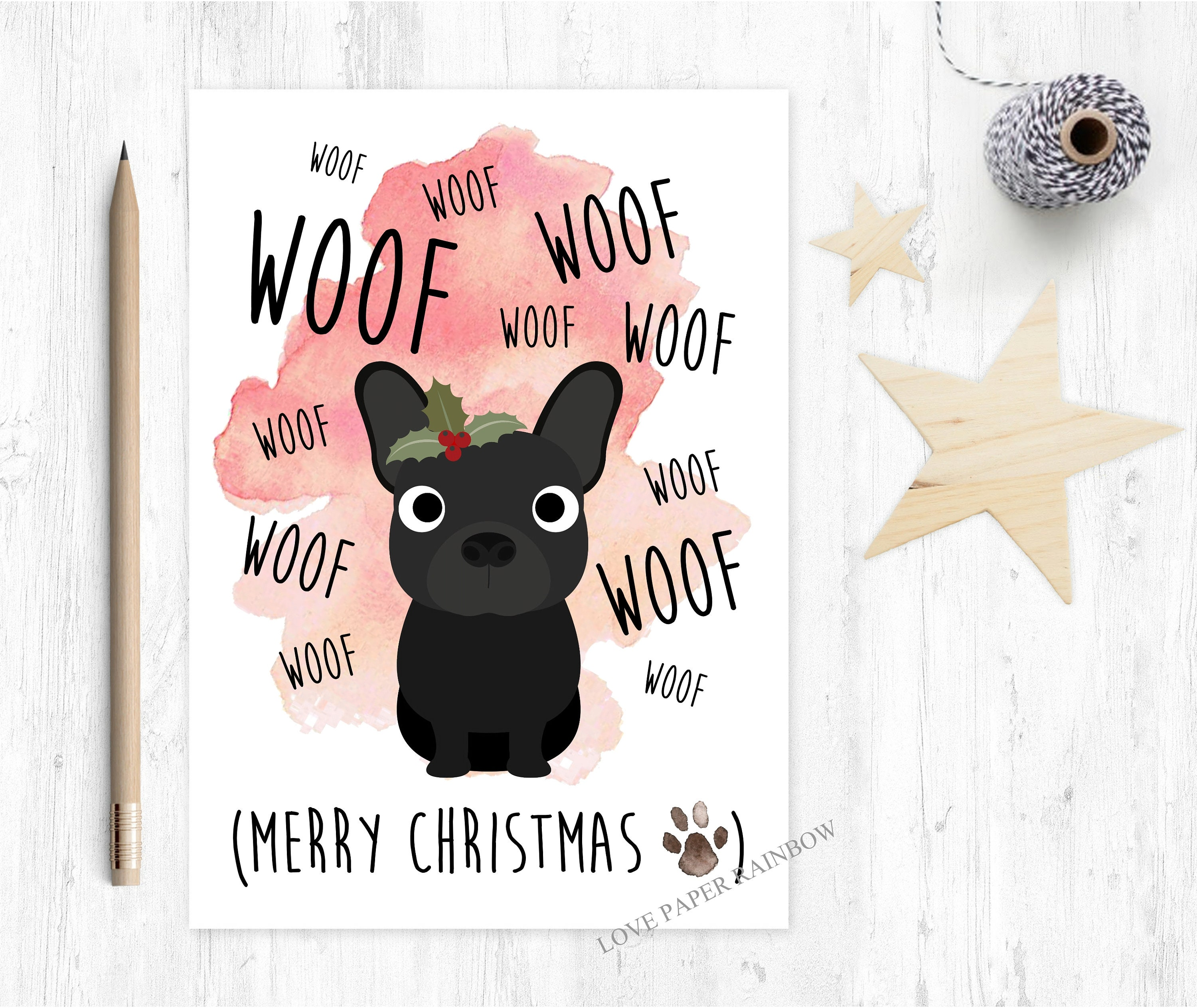 french bulldog christmas card, dog christmas card, merry christmas ...