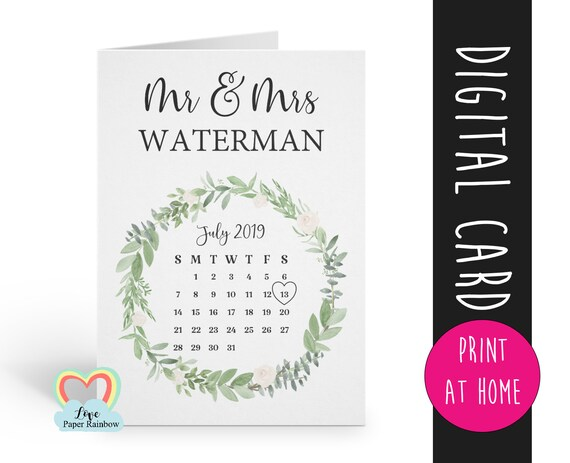 mr and mrs card printable | personalised wedding card | download | wedding date card | floral wreath | greenery wedding card | anniversary