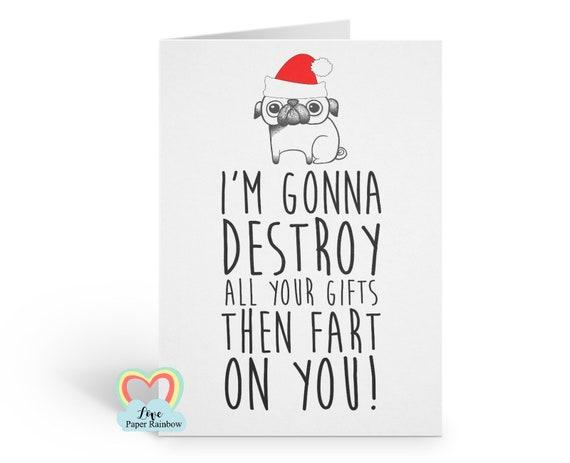 funny christmas card, funny pug christmas card, fart christmas card, rude christmas card, dog christmas card, inappropriate christmas card