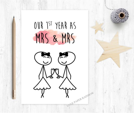 our first year as mrs and mrs, 1st wedding anniversary card, first wedding anniversary card, 1 year anniverary, lesbian anniversary card