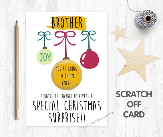 you're going to be an uncle christmas scratch card christmas surprise baby reveal christmas card scratch off christmas gift pregnancy