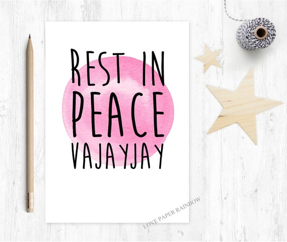 rest in peace vajayjay, rude pregnancy card, funny maternity card, vajayjay card, new baby card, funny new baby card, vagina card