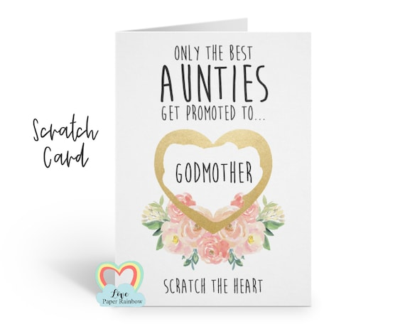 auntie will you be my godmother proposal card only the best aunties get promoted to godmother quote scratch card love paper rainbow