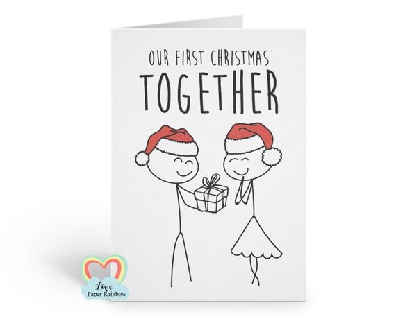 our first christmas, 1st christmas card, first christmas card, our first christmas together, girlfriend christmas card, boyfriend christmas