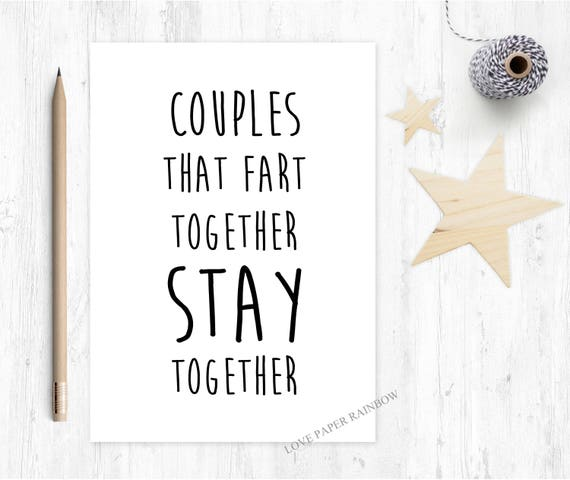 funny anniversary card, fart anniversary, romantic card, couples that fart together stay together, funny boyfriend card, girlfriend card
