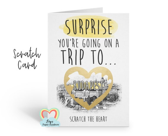 you're going to Budapest scratch card | surprise holiday Budapest | Budapest scratch card | trip to Budapest | Budapest gift | Budapest card