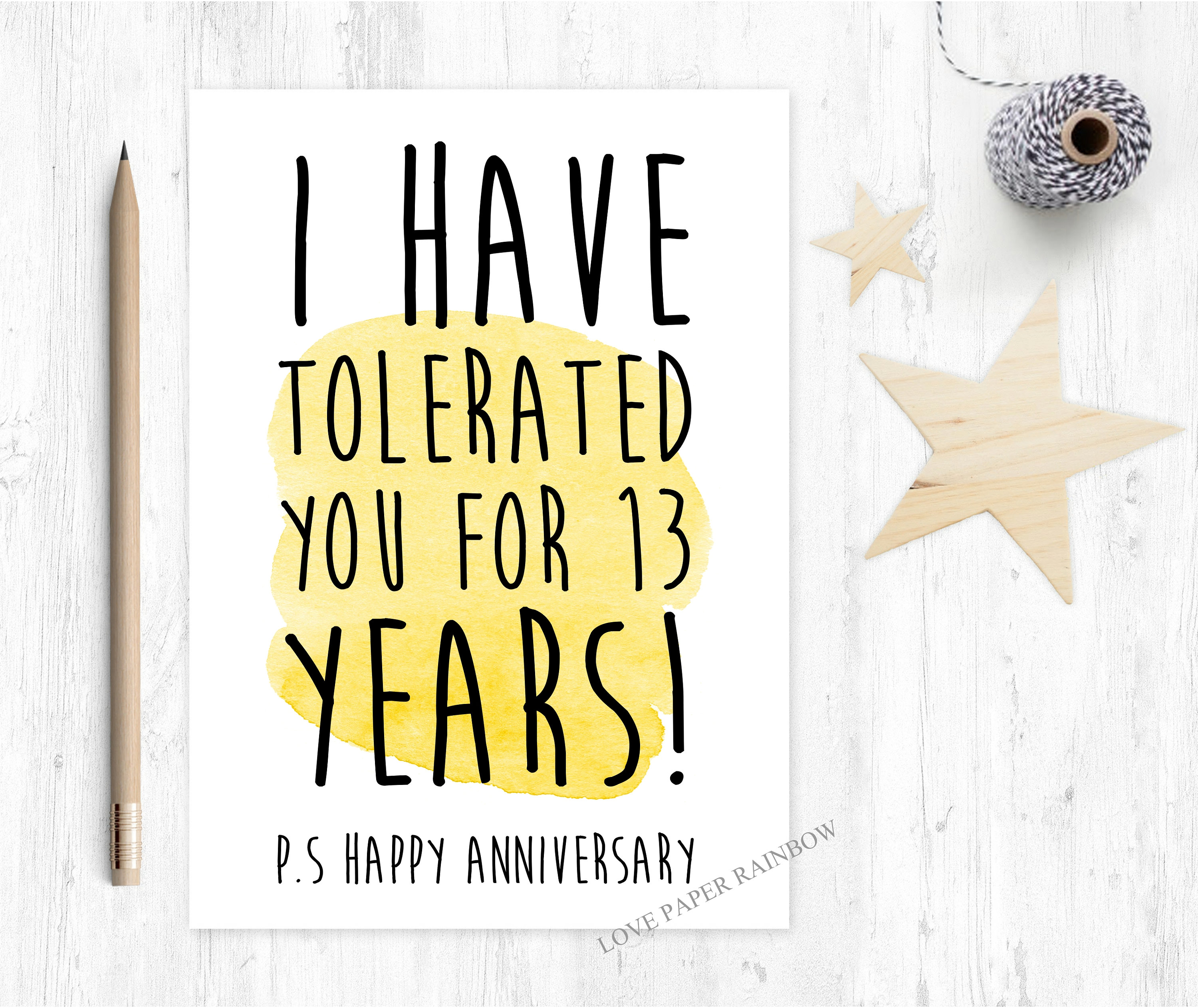 Gift For 13th Wedding Anniversary: 13th Wedding Anniversary Card Funny 13th Wedding