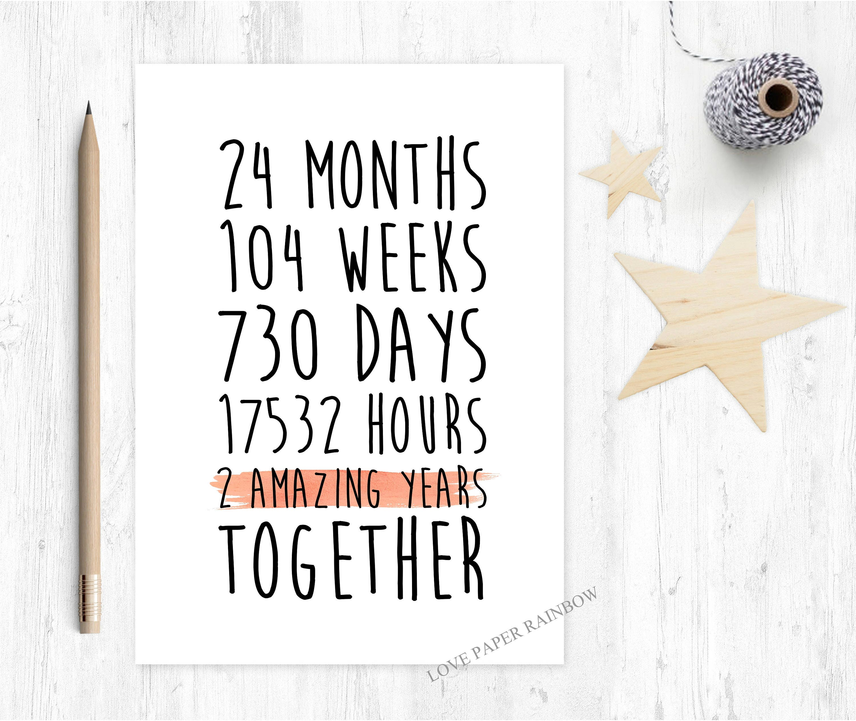2nd anniversary card 2nd wedding anniversary card 2 years together