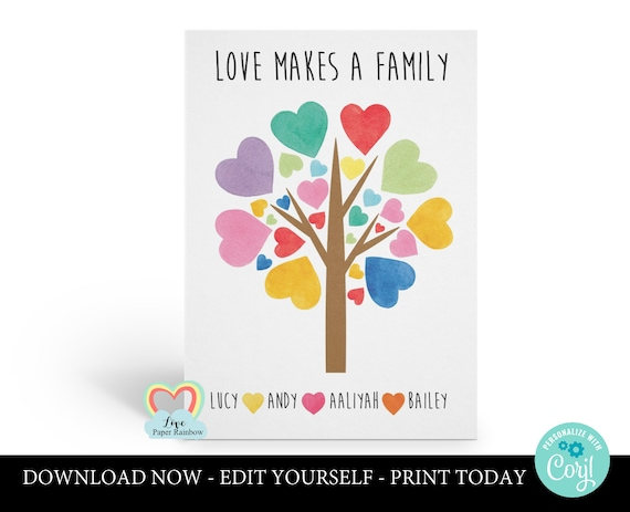 adoption printable card | family tree | custom family card | love makes a family | personalised adoption card | print at home | newborn