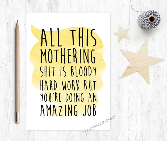 new mum card, funny new mum card, 1st mother's day card, first mother's day card, you're doing a great job funny mother's day card