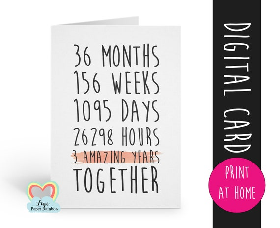 PRINTABLE 3rd anniversary card, 3rd wedding anniversary card, 3 years together, anniversary card, anniversary printable