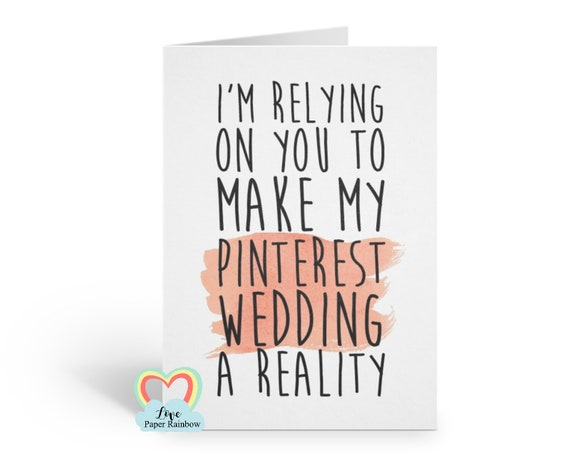 FUNNY BRIDESMAID CARD, will you be my bridesmaid, maid of honour card, chief bridesmaid card, make my pinterest wedding a reality