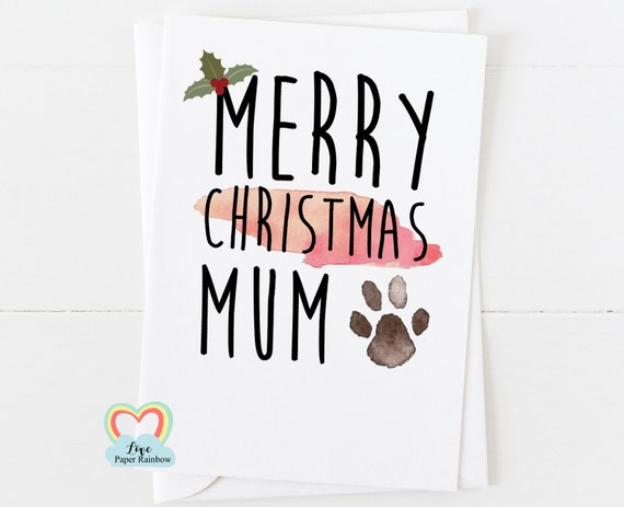 merry christmas from the dog, christmas card from the dog, dog mum christmas card, paw print christmas card, love paper rainbow