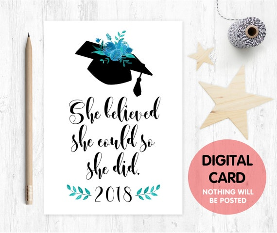 graduation card printable class of 2018 she believed she could so she did graduation card digital download graduation printable