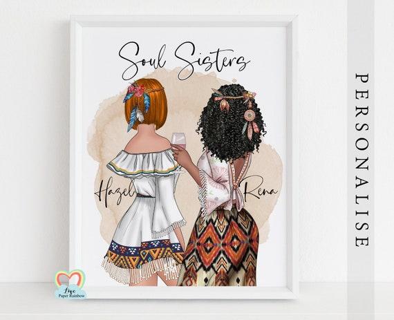 boho best friends, hippy friends, soul sisters print, best friend birthday gift, hippy gift, bohemian wall art, personalised best friends
