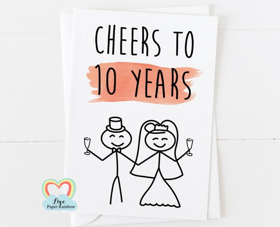 10th wedding anniversary card, 10th anniversary card, 10 years together, cheers to 10 years, 10 year anniversary, personalised anniversary