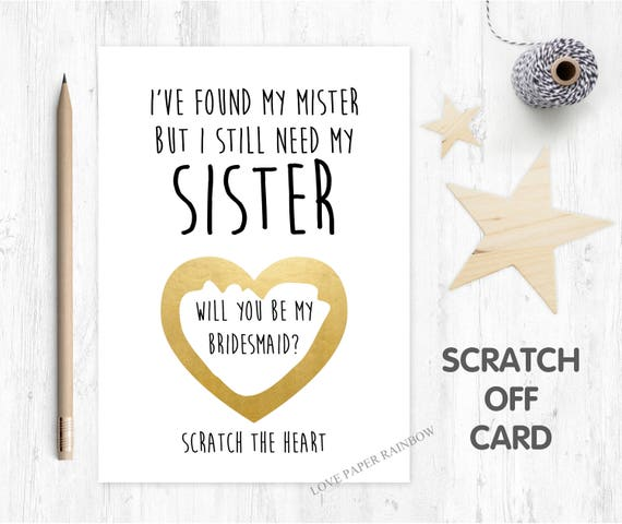 will you be my bridesmaid scratch card, will you be my maid of honour scratch off card, i've found my mister, funny bridesmaid card
