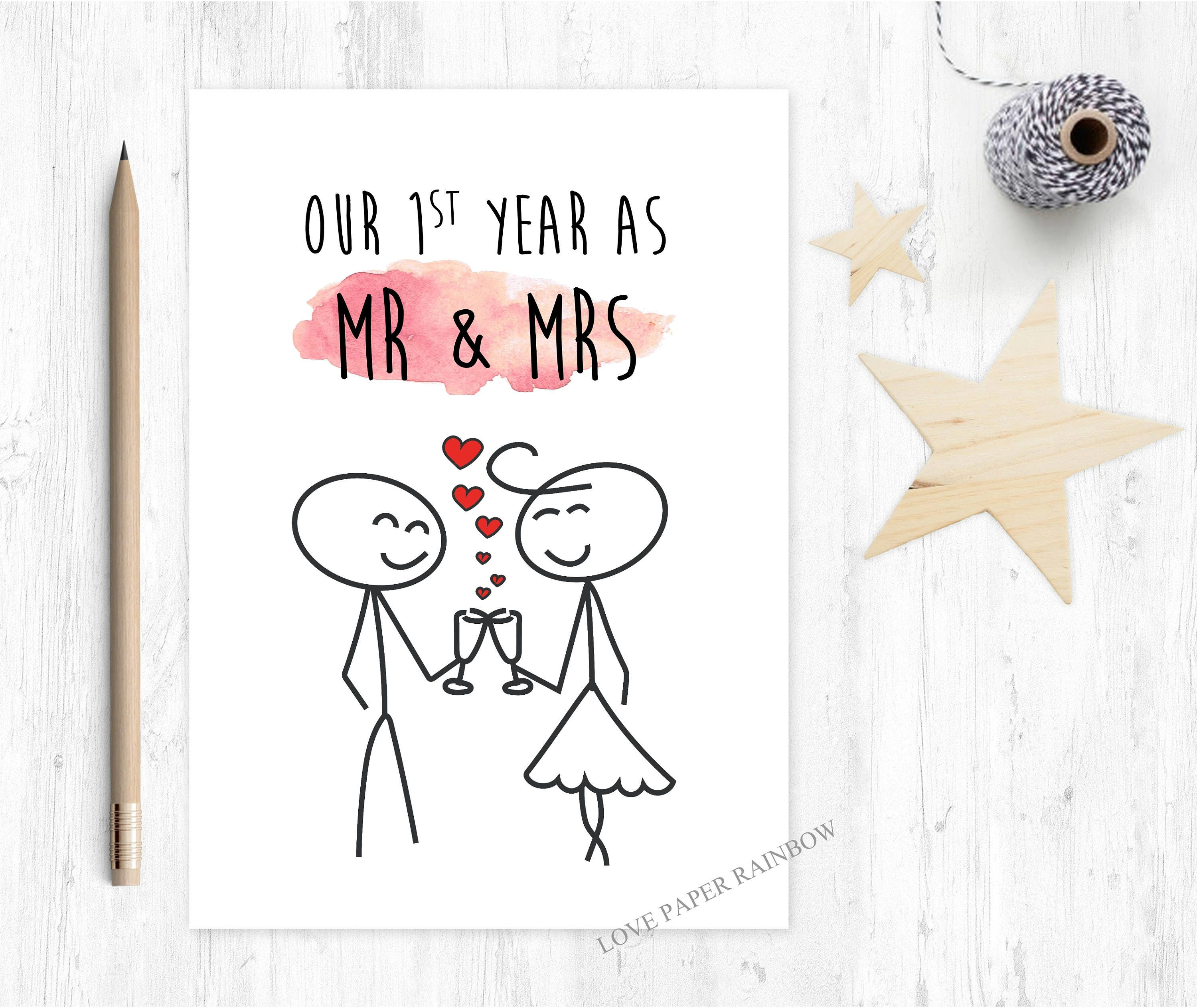 1st Wedding Anniversary 1st Wedding Anniversary Card Mr And Mrs