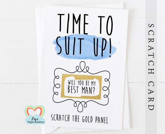 will you be my best man scratch card, funny best man proposal, will you be my usher, time to suit up, love paper rainbow, funny usher card