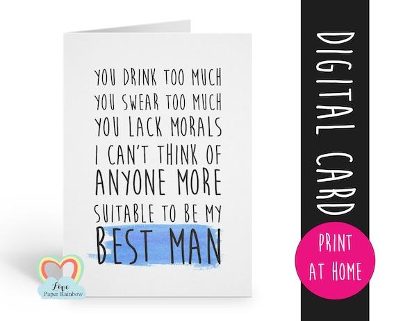 PRINTABLE best man card, will you be my best man printable, funny best man card, best man proposal printable, digital download