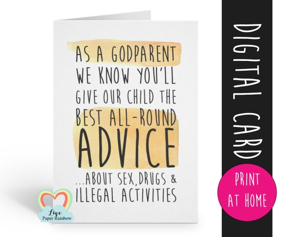 funny godfather card printable godmother card funny godparents card printable godparent card inappropriate godfather card instant download