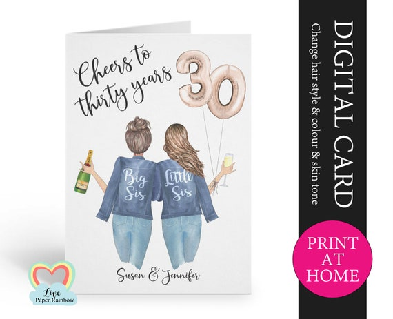 personalized 30th sister birthday card printable cheers to 30 years digital pdf custom little sister 30th printable card print at home