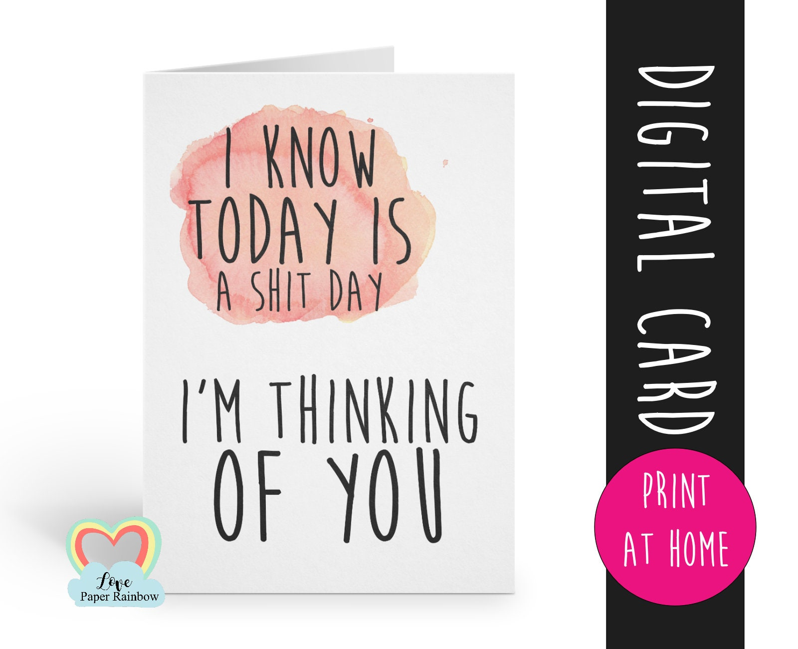 graphic about Printable Thinking of You Card referred to as PRINTABLE playing cards, wondering of on your own card printable, pondering of