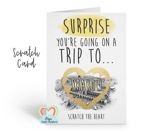 Krakow surprise trip scratch card | you're going to Krakow | Krakow scratch card | scratch and reveal Krakow trip | Krakow holiday | gift
