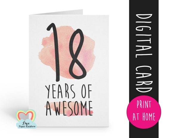 PRINTABLE 18th birthday card, birthday card printable, instant download birthday card, 18 years of awesome, funny 18th birthday card digital