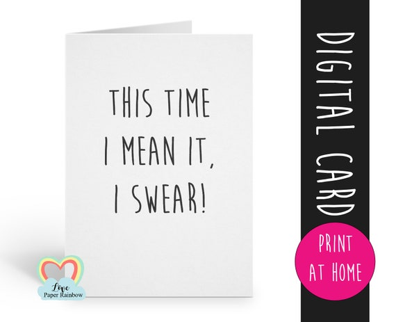 PRINTABLE funny bridesmaid card will you be my bridesmaid download this time I mean it I swear second marriage maid of honor proposal