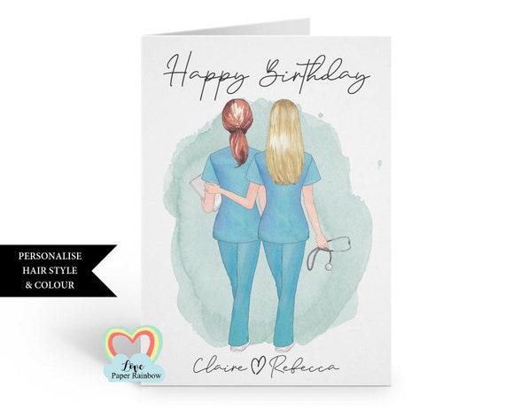 personalised nurse birthday card, nurse best friends, nurse birthday card, custom hairstyles, nurse gift, custom nurse birthday card