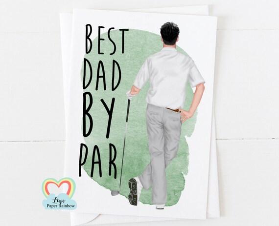 golf father's day card, golf birthday card, dad birthday card, personalised father's day card, best dad by par, pun birthday card