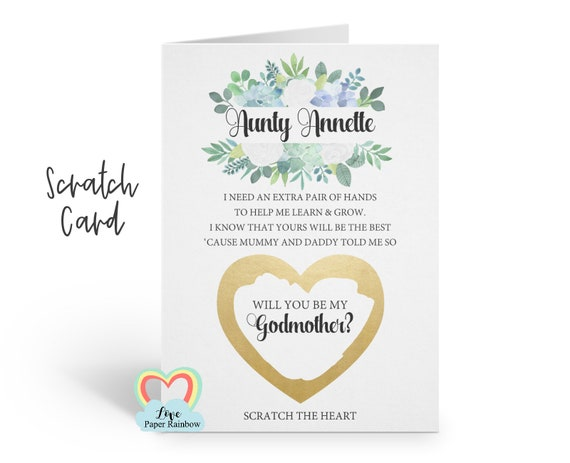 godmother scratch card, will you be my godmother, godmother proposal, scratch and reveal godmother card, I need an extra pair of hands poem