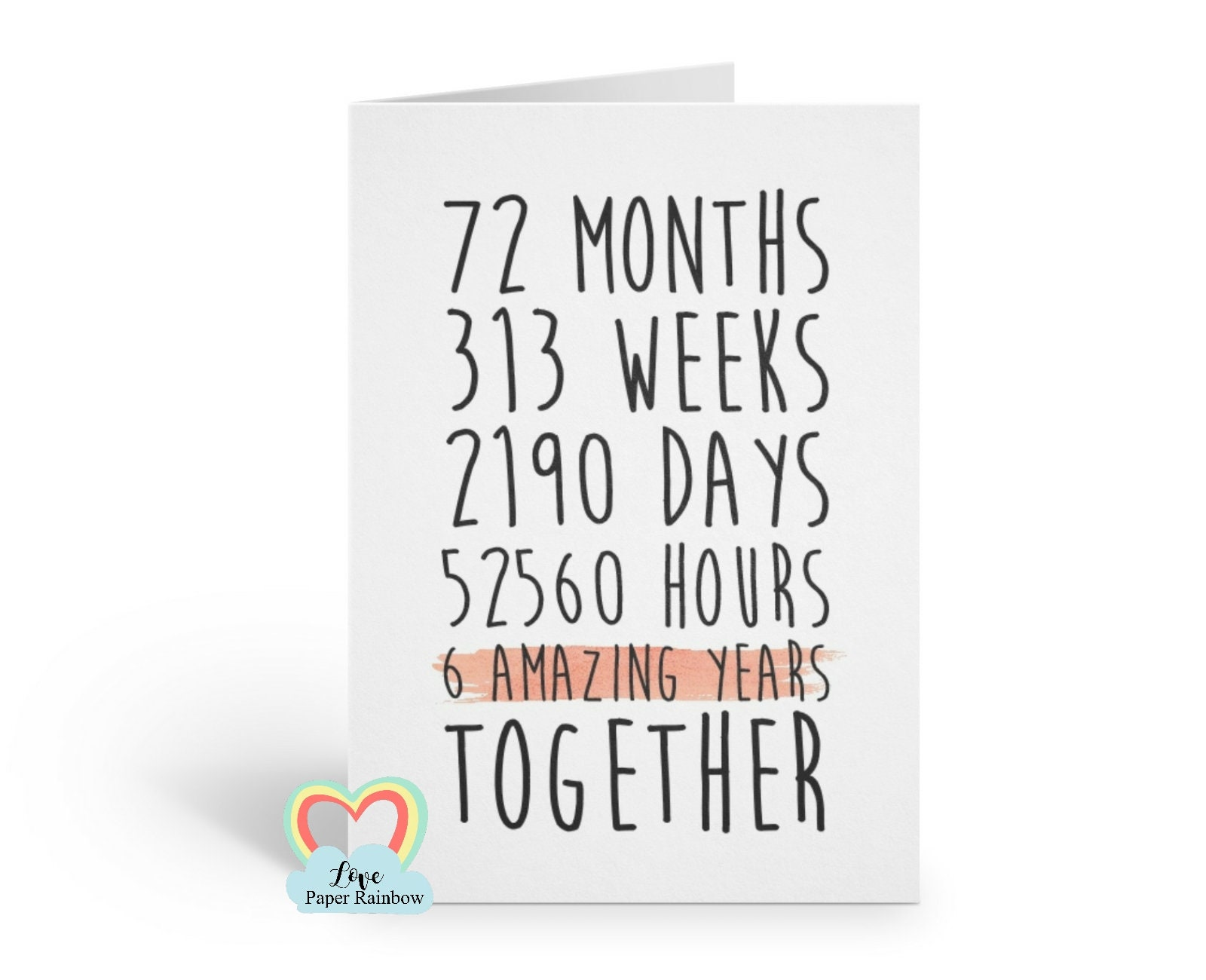 Sixth Wedding Anniversary Gift: 6th Anniversary Card 6th Wedding Anniversary Card 6 Years