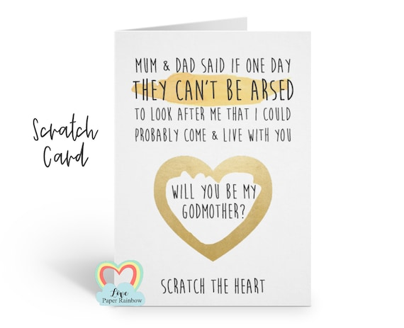 funny godmother proposal will you be my godmother scratch card can't be arsed inappropriate godfather card godparents rude